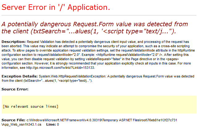 Trying to run a script tag in a textbox returned this exception.